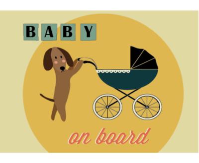 TECKEL ANSICHTKAART   BABY ON BOARD