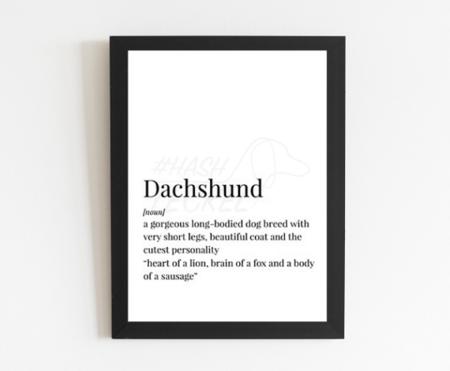 DACHSHUND POSTER & LIJST   HEART OF A LION